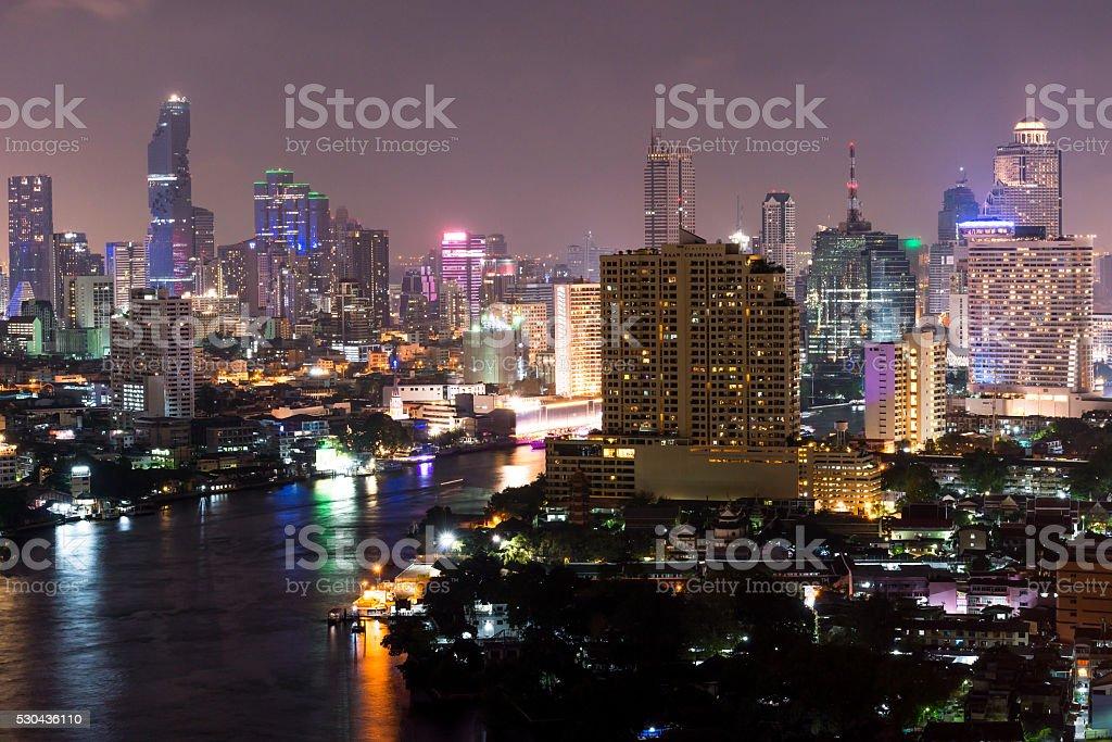 top view.Bangkok Cityscape,Thailand stock photo