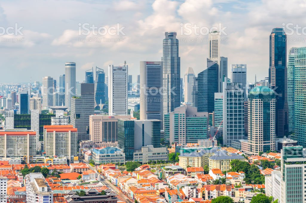 Top views skyline business building and financial district  in sunshine day at Singapore City, Singapore stock photo
