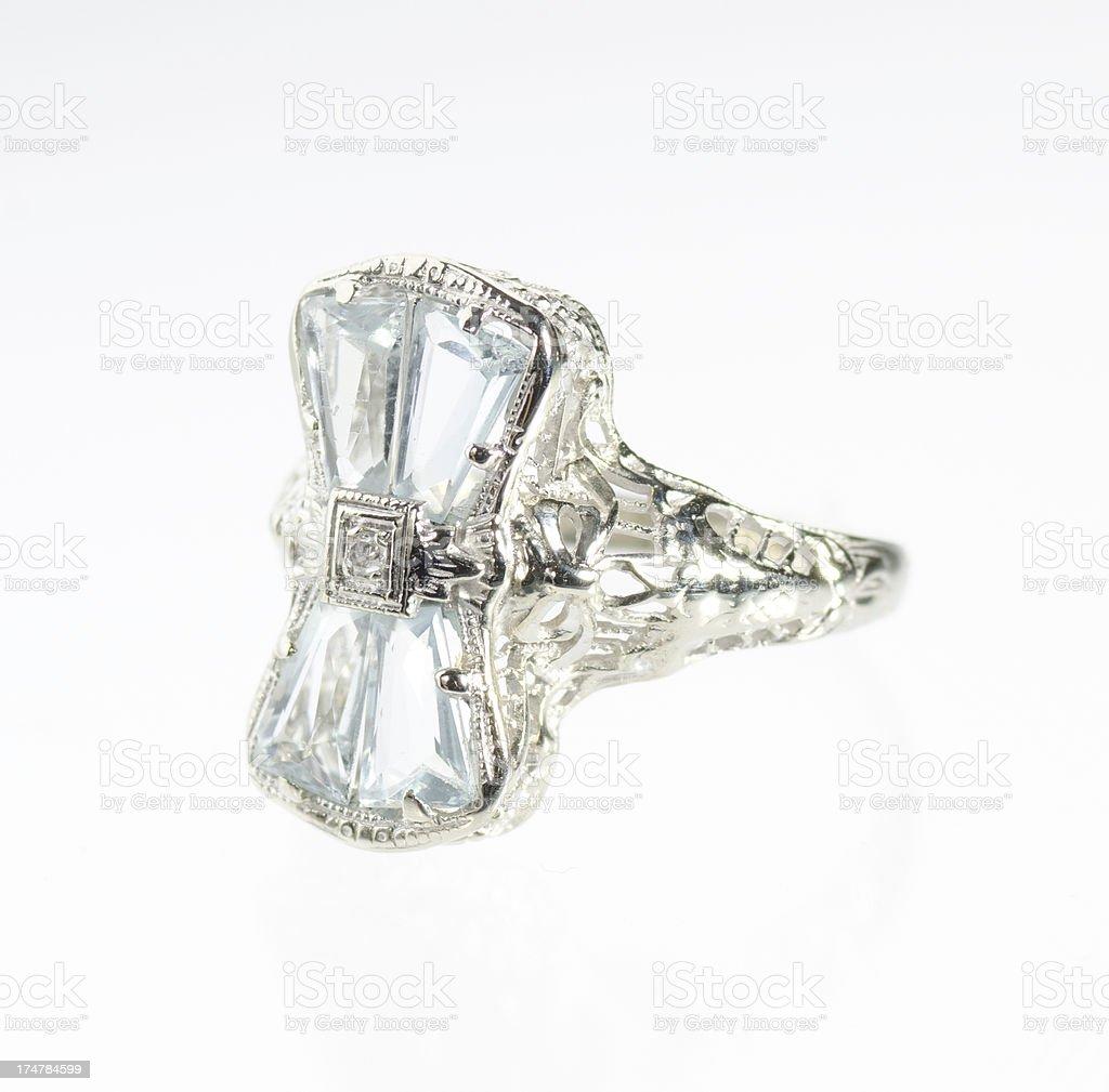 Topaz, Diamond and White Gold Ring royalty-free stock photo