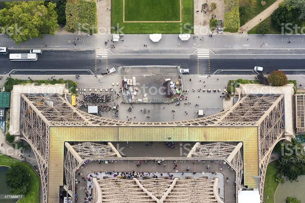 Top-down view from the Eiffel Tower in Paris stock photo