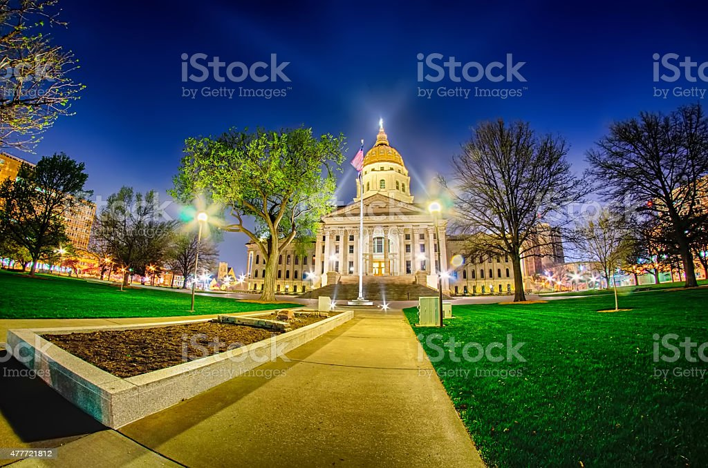 topeka kansas downtown at night stock photo