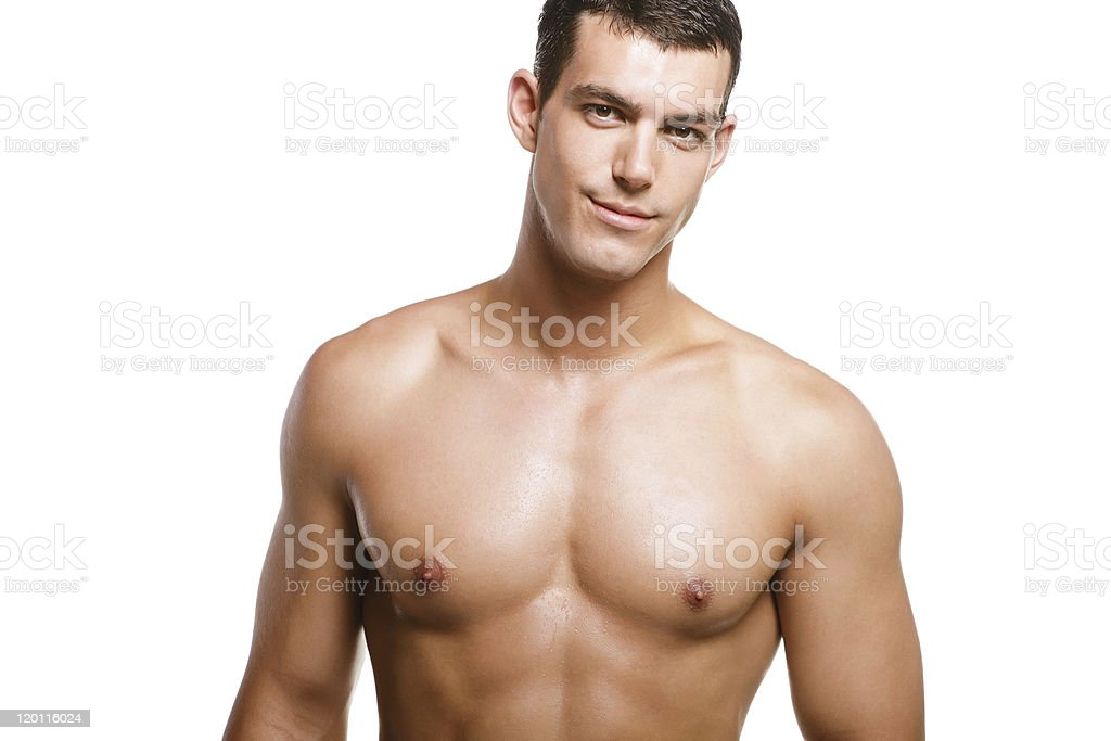 Topless and muscular young man royalty-free stock photo
