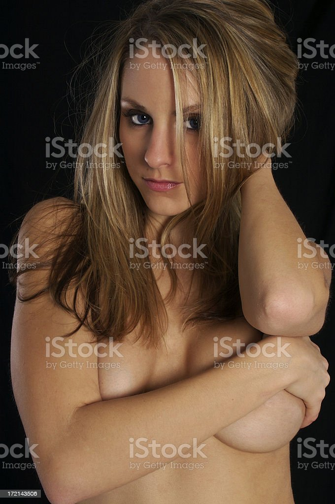 Topless girl with beautiful blue eyes royalty-free stock photo