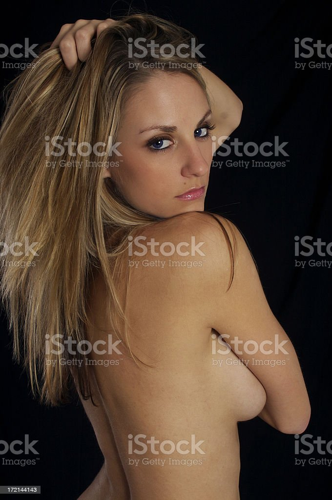 Topless girl with expressive eyes royalty-free stock photo