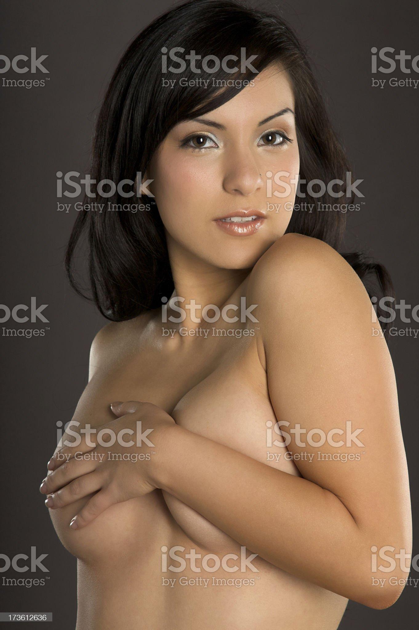 Topless Hispanic Girl royalty-free stock photo