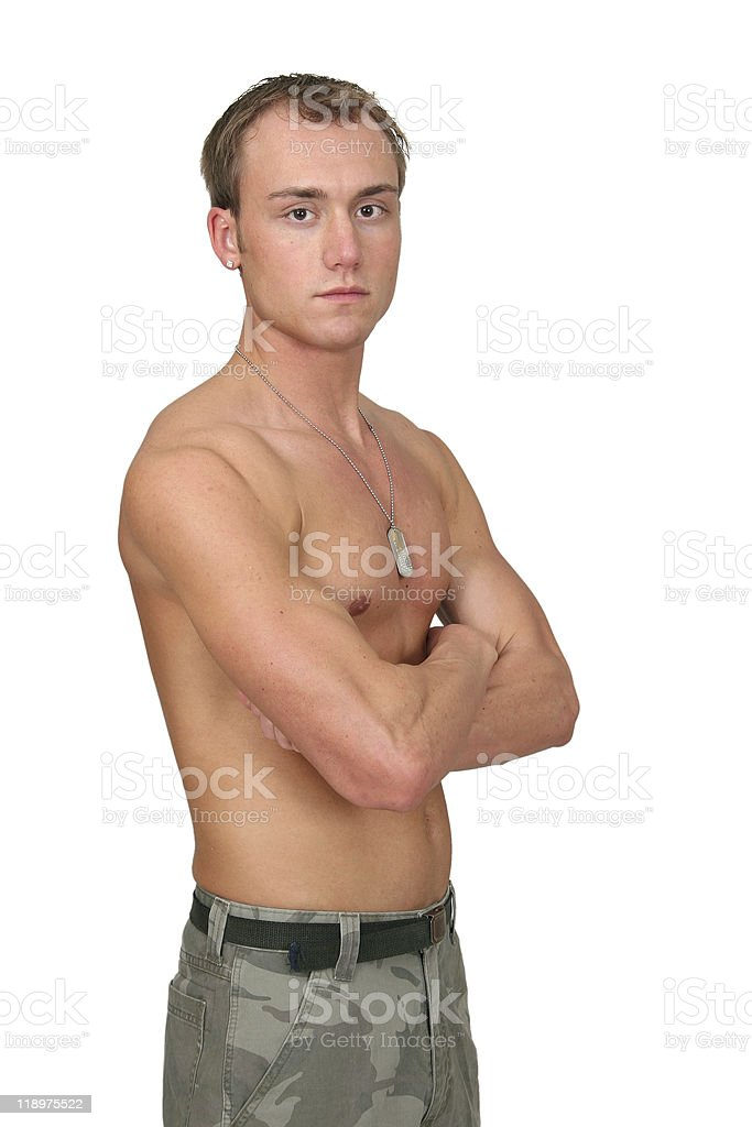 topless soldier royalty-free stock photo