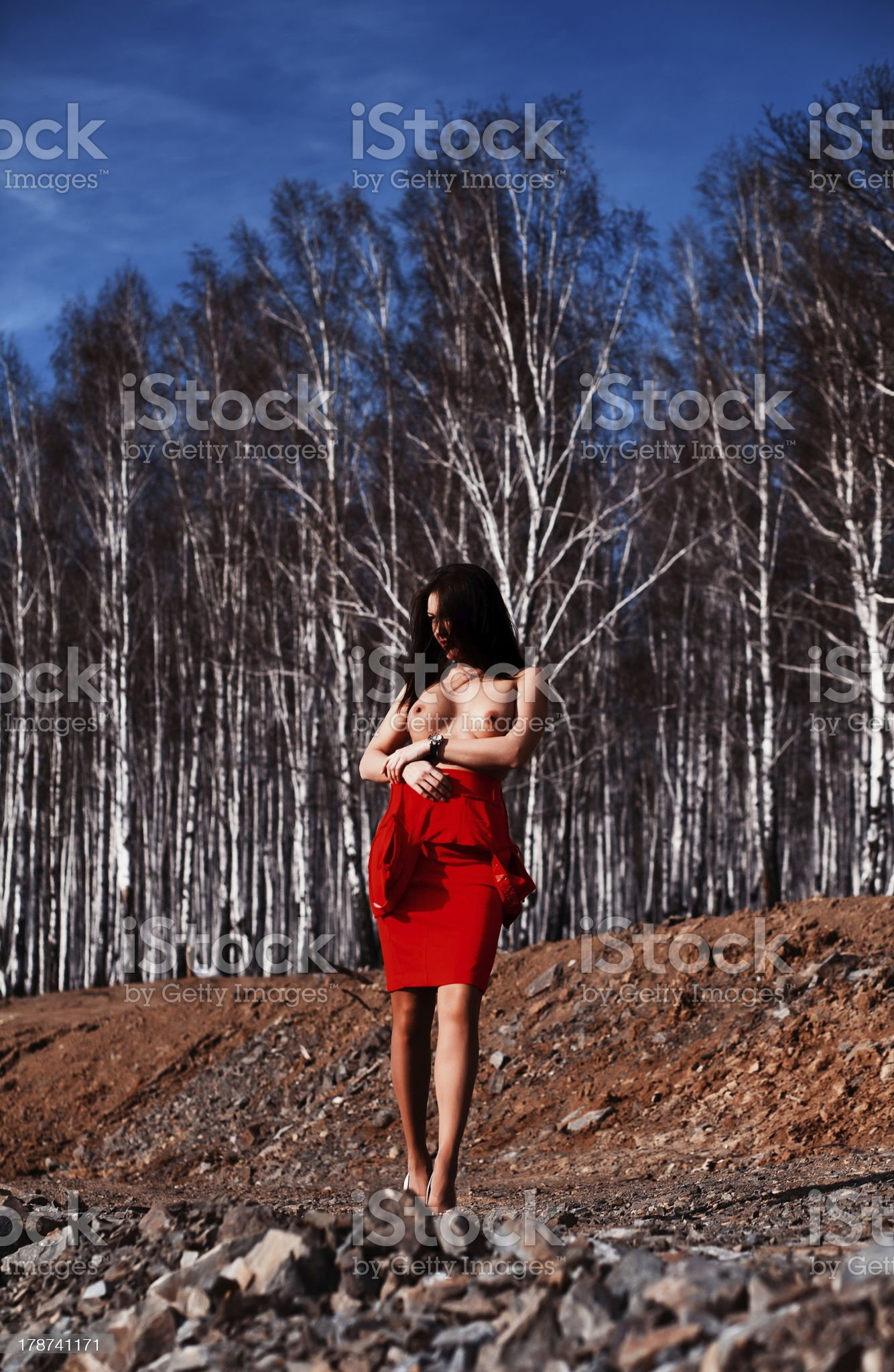 Topless woman in birch tree grove royalty-free stock photo