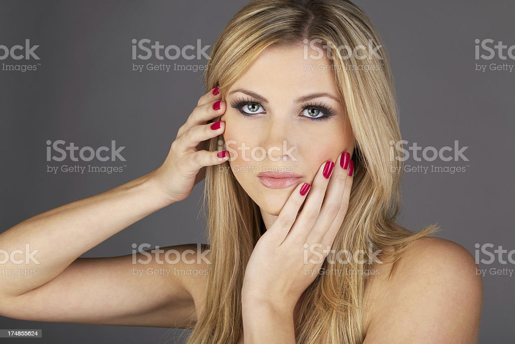Topless Woman With Pink Finger Nails royalty-free stock photo