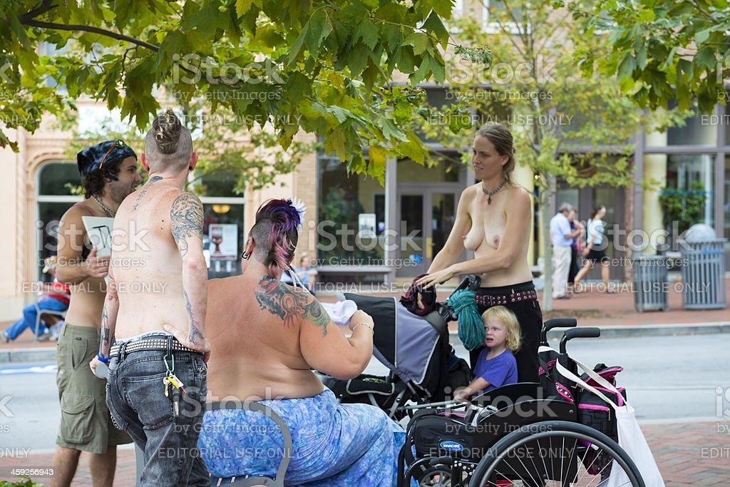 Topless women alternative lifestyle royalty-free stock photo