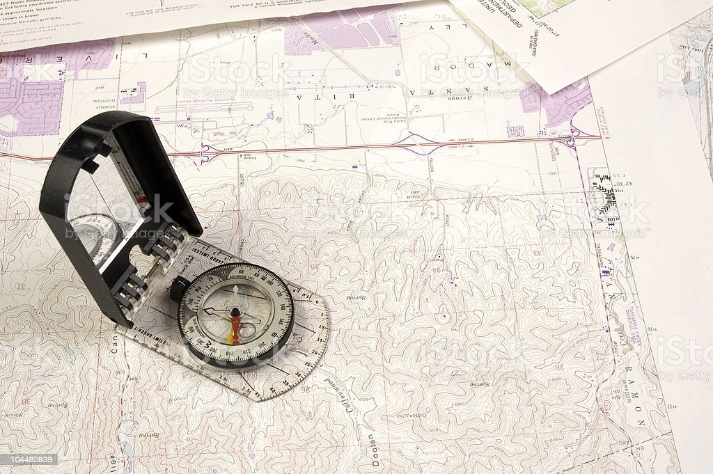 Topo Map and compass royalty-free stock photo