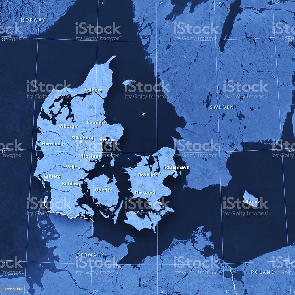 Topographic Map Denmark stock photo