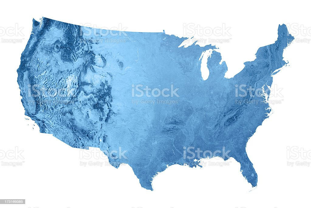 USA Topographic Map Isolated stock photo