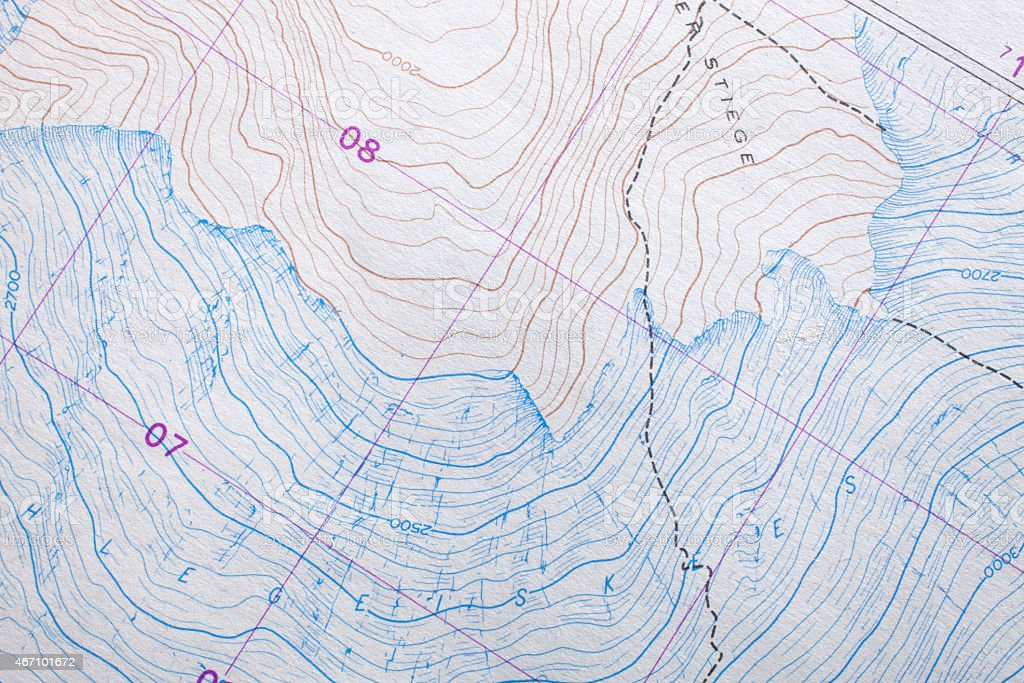 Topographic map mountain stock photo