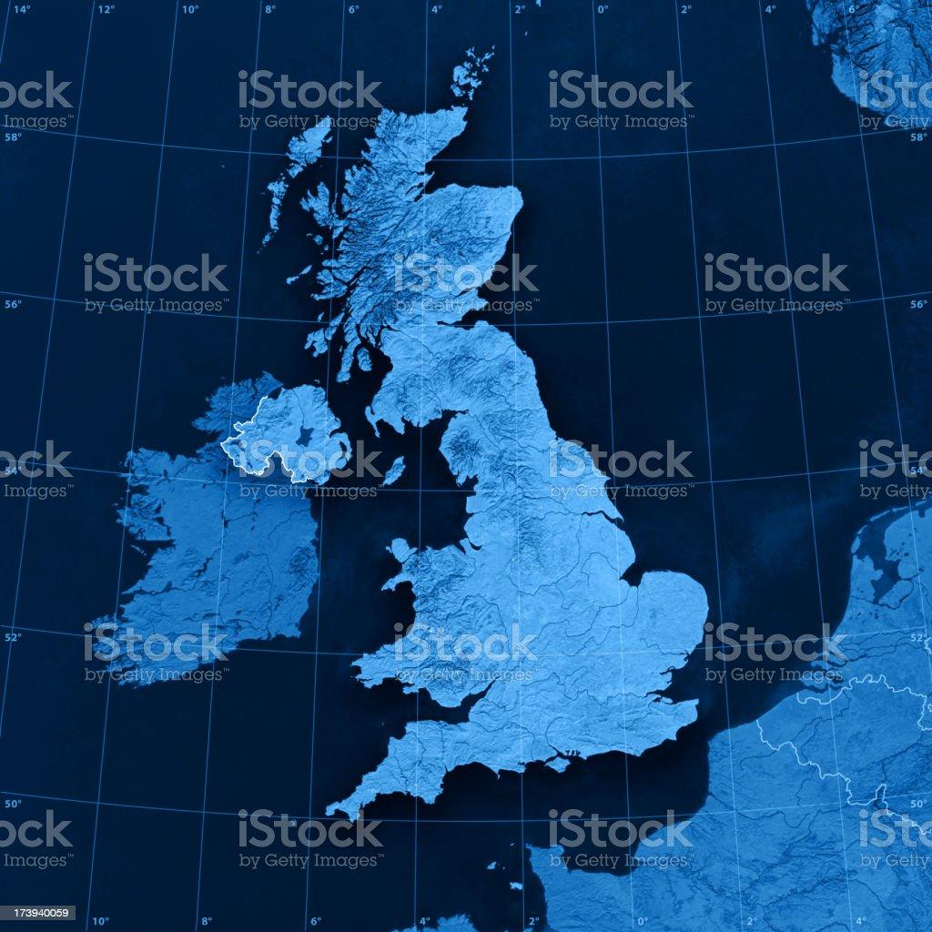 UK Topographic Map stock photo
