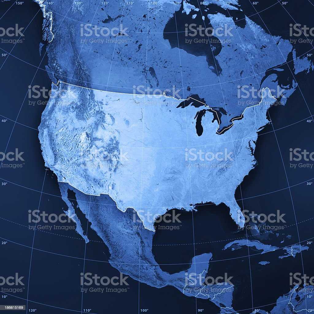 USA Topographic Map stock photo