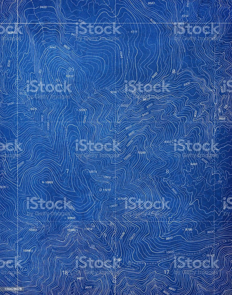 Topographical Blueprint Pattern stock photo