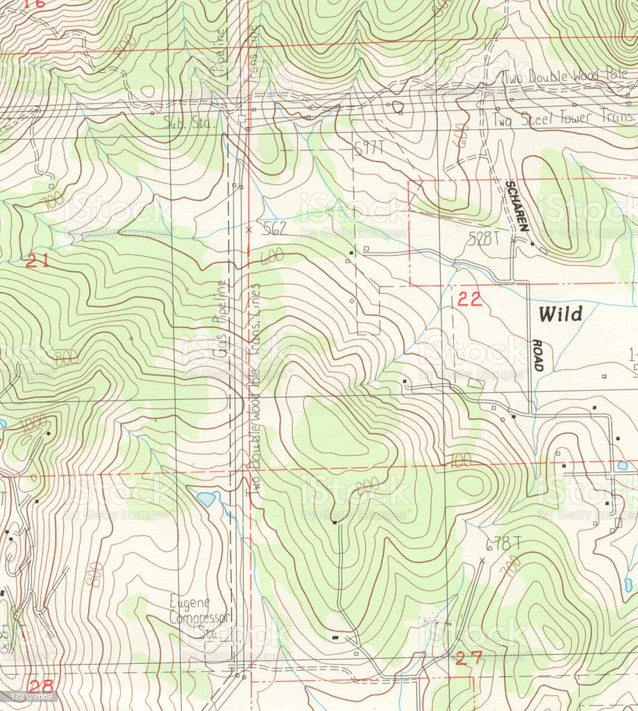 Topographical Map Detail stock photo