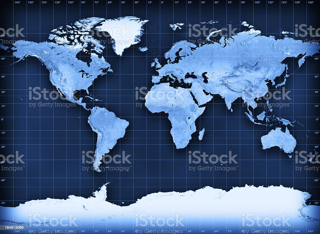 Topographical world map on cylindrical projection royalty-free stock photo