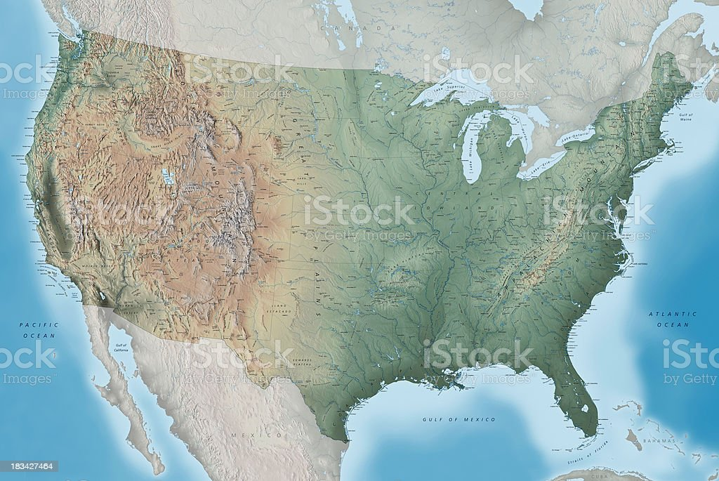USA Topography Map stock photo