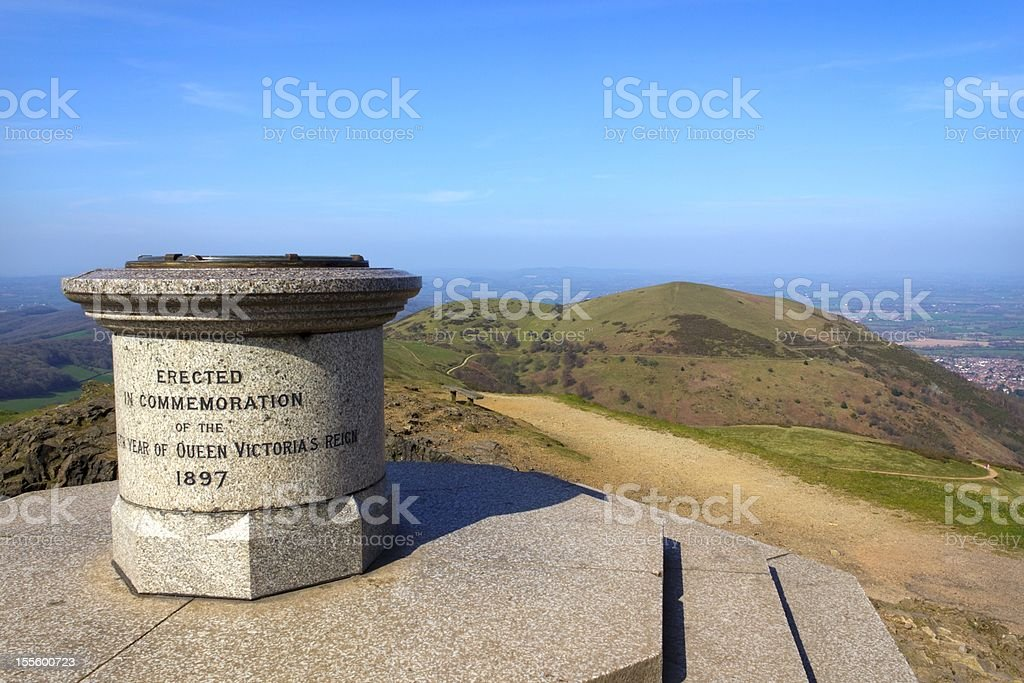 Toposcope and memorial on Worcestershire Beacon, Malvern Hills , UK stock photo