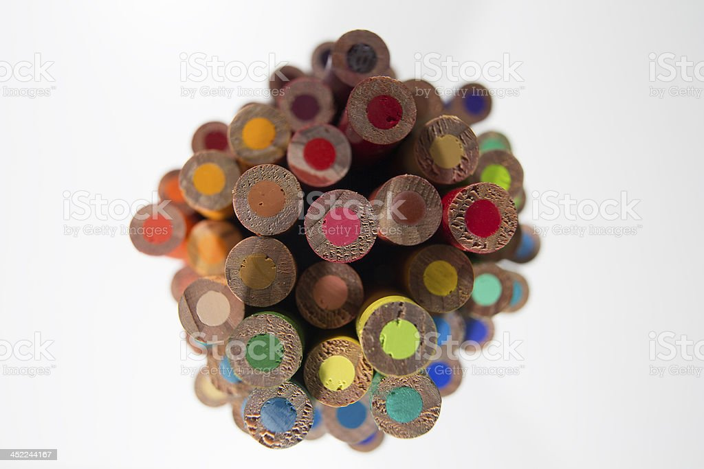 tops of coloured pencils stock photo