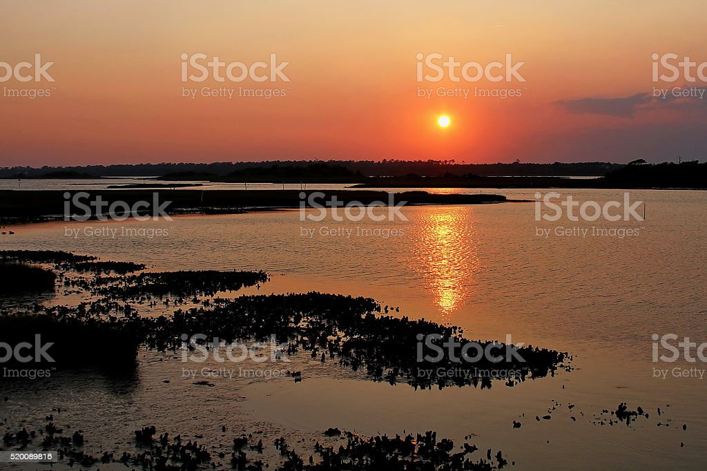 Topsail Beach Sunset stock photo