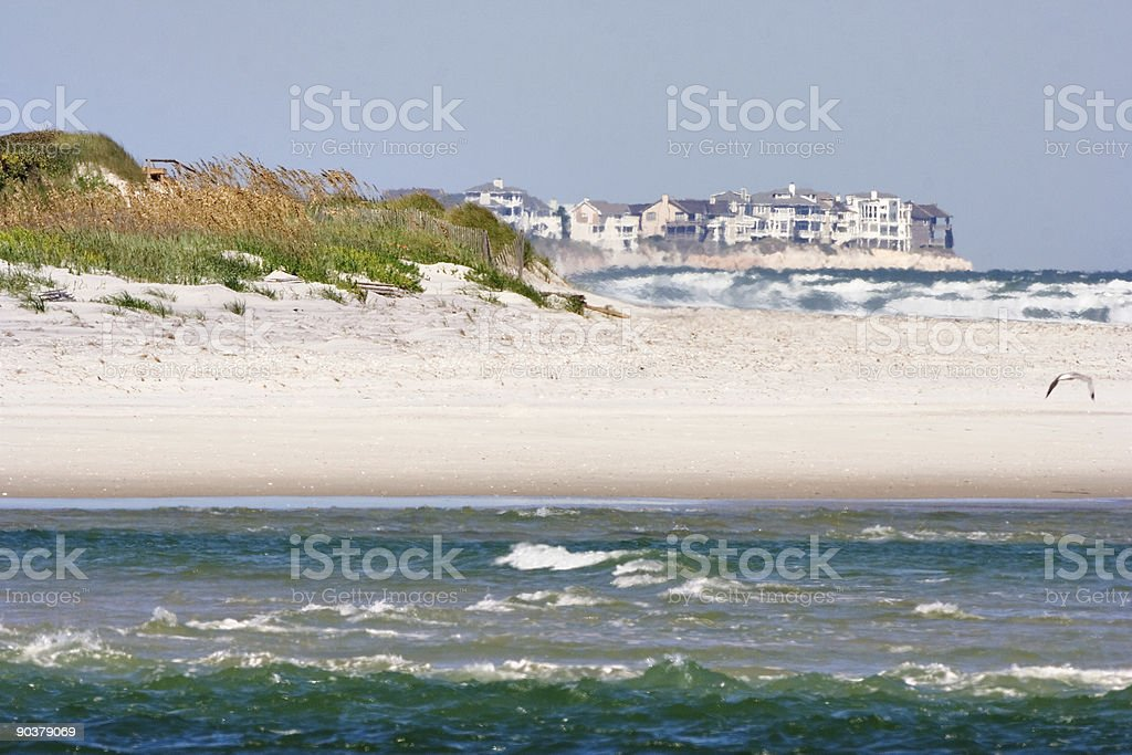 Topsail Island from Wrightsville Beach stock photo