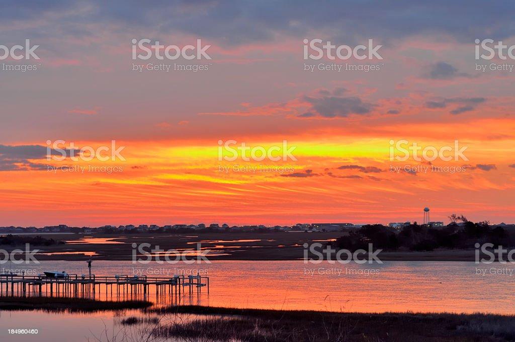 Topsail Island Sunrise stock photo