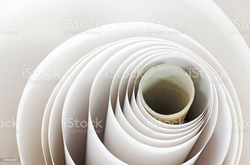 Topshot macro Paper roll spiral in a printshop stock photo