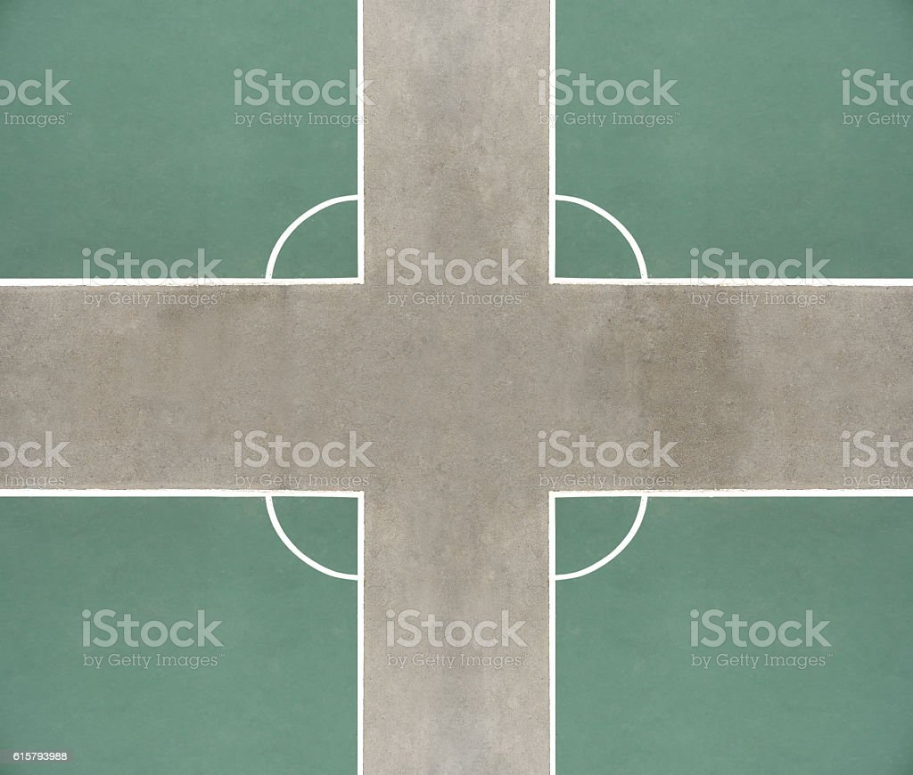 Top-view corners of outdoor (play)ground soccer fields on asphalt stock photo