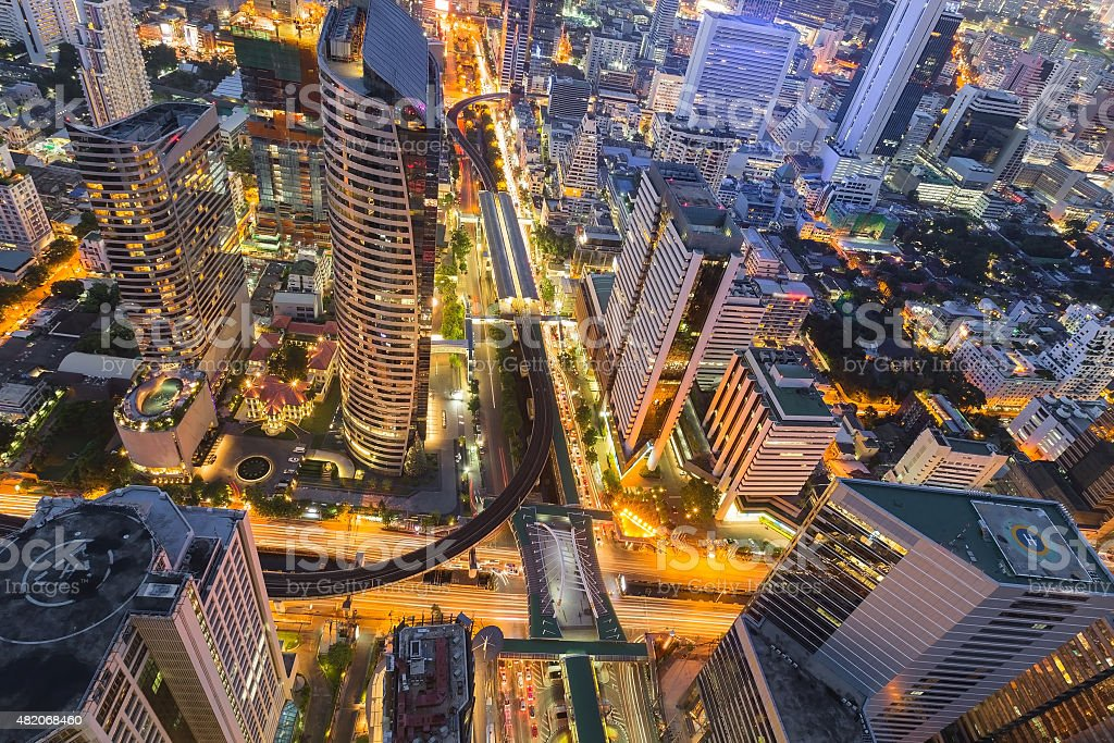 Topview of Bangkok office building business downtown stock photo
