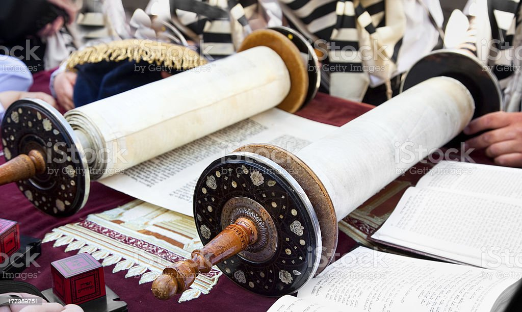 Torah- ancient scrolls in Jerusalem stock photo