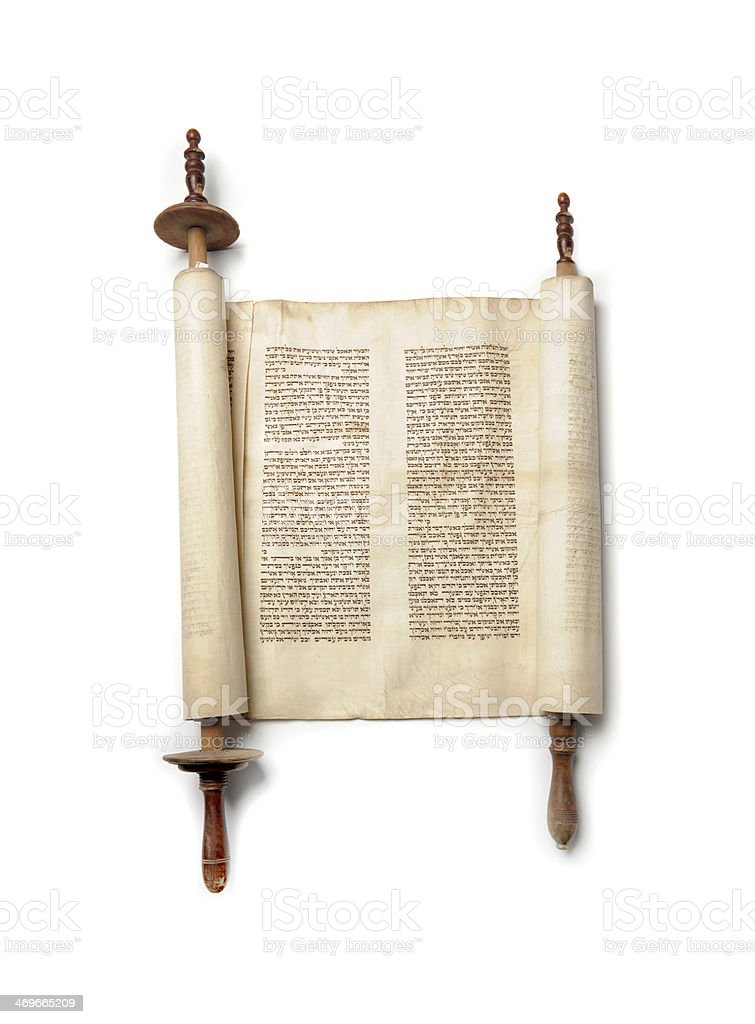 A torah open on a white background stock photo