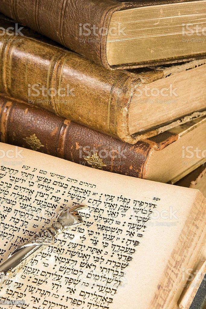 Torah pointer on parchment stock photo