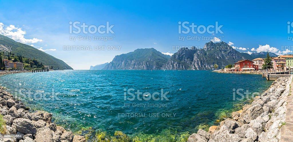 Torbole - wind surfers paradise on Lake Garda, Italy stock photo