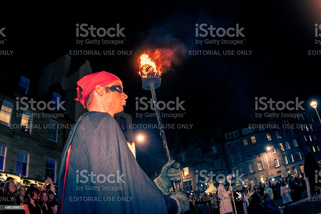 Torch Bearer at the Samhuinn Fire Festival, Edinburgh stock photo