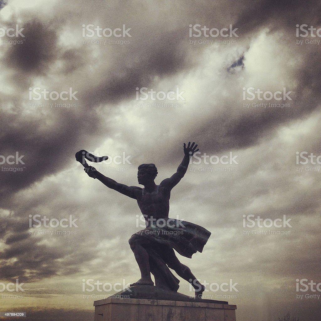Torch bearer statue at Gellert Hill in Budapest, Hungary stock photo