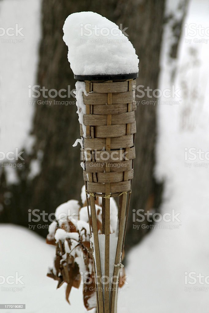 Torch with Snow Flame stock photo