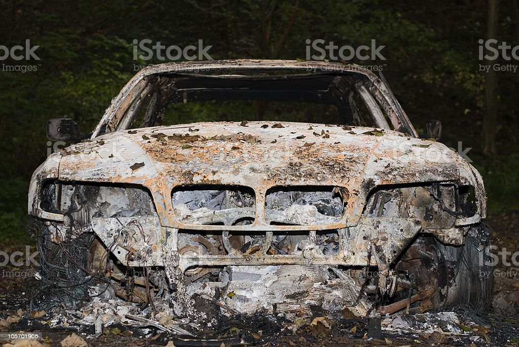 Torched Car stock photo