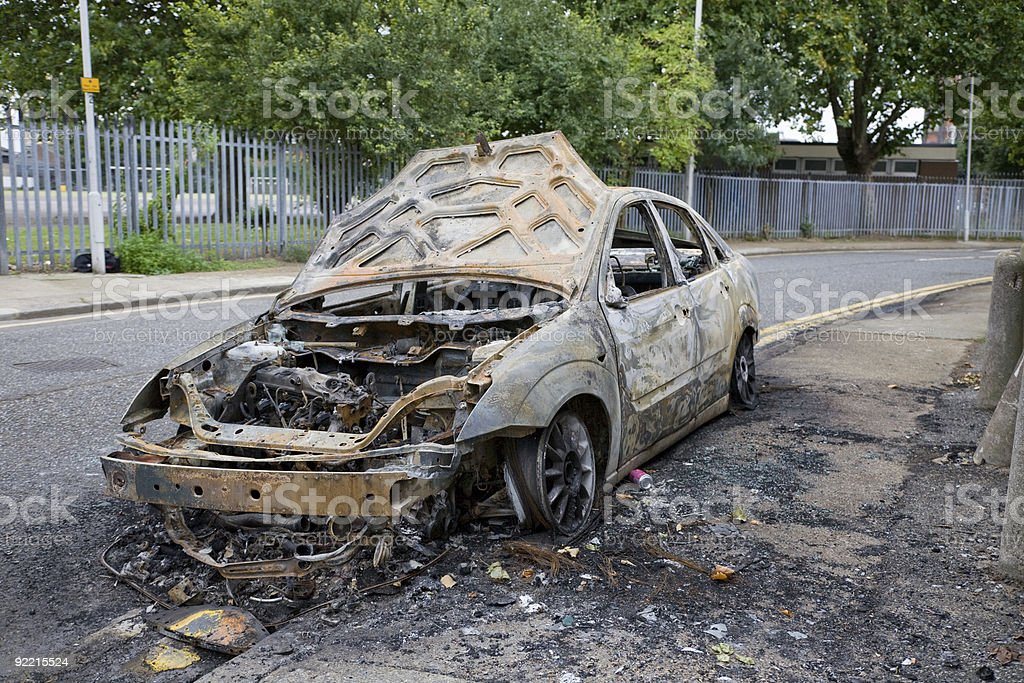 Torched Vehicle royalty-free stock photo