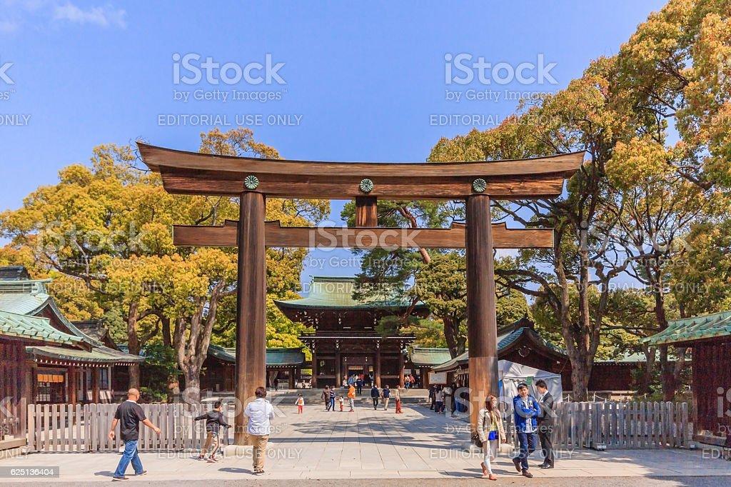 Torii Gate at Meiji-Jingo Shrine gate in Tokyo, Japan stock photo