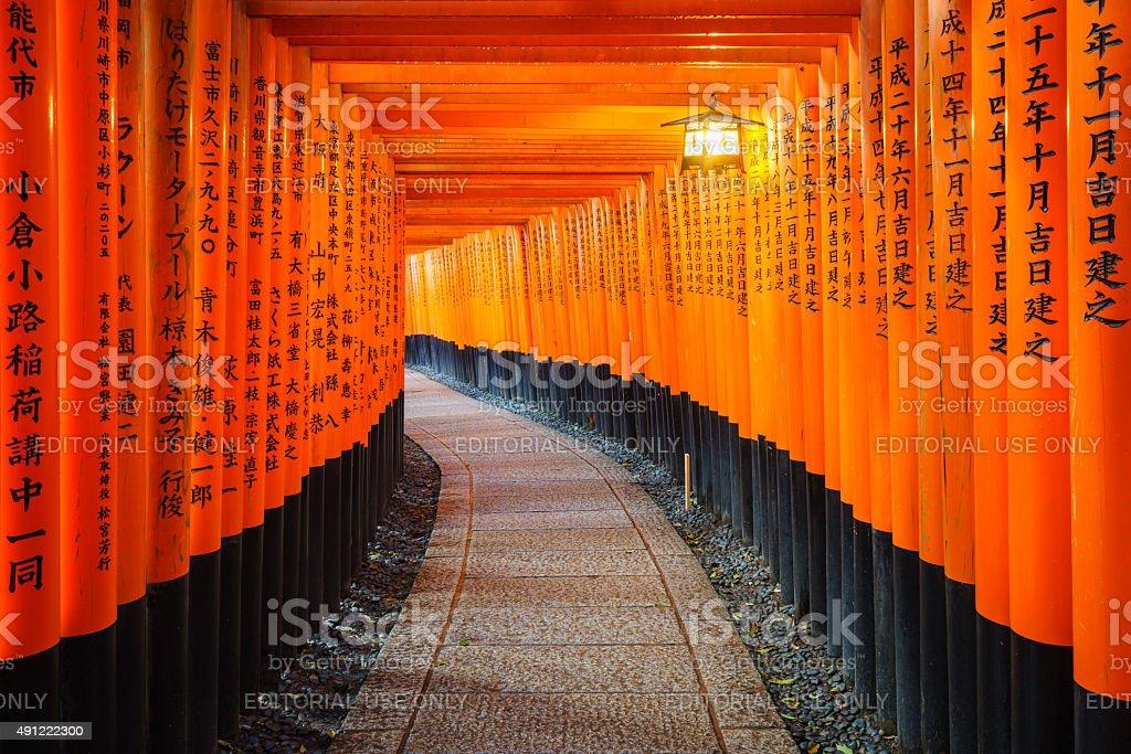 Torii gates in Fushimi Inari Shrine, Kyoto, Japan stock photo