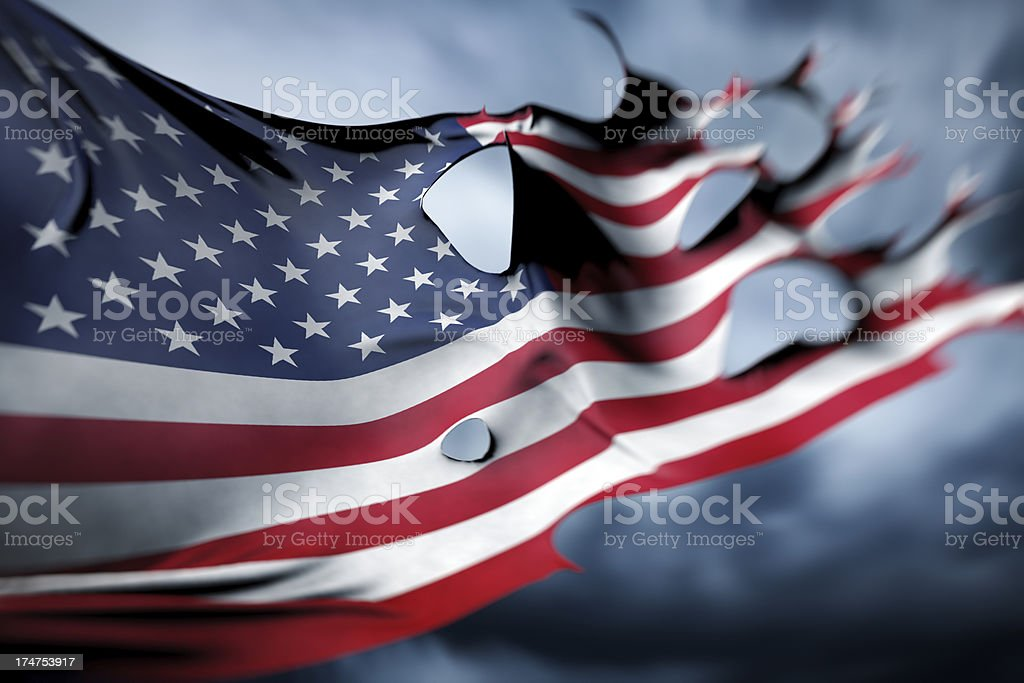 Torn and majestic USA, American flag royalty-free stock photo