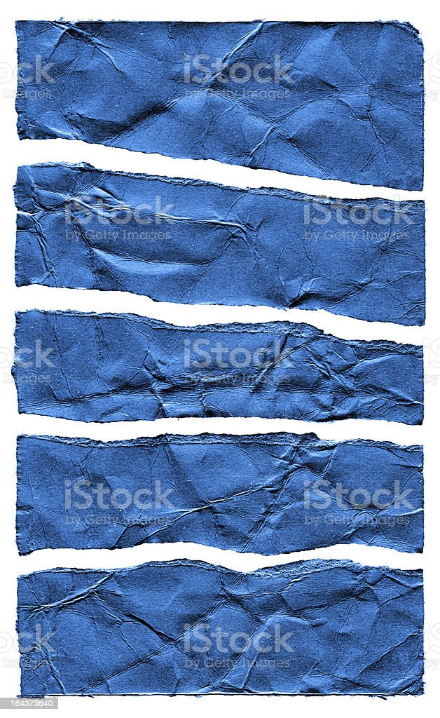 Torn Blue Paper textured isolated on white background royalty-free stock photo