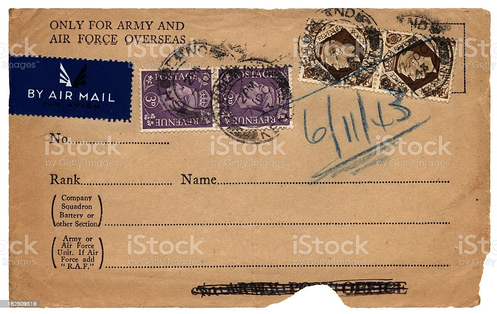 Torn British military stamped envelope front, 1943 stock photo