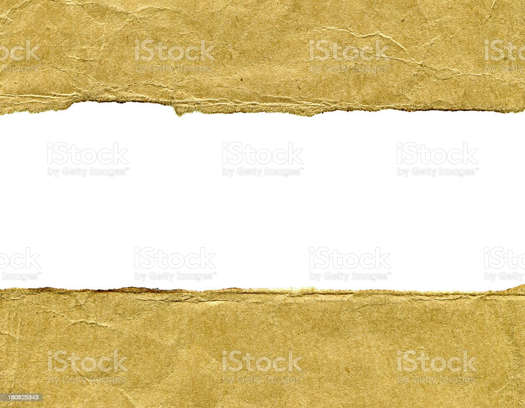Torn brown paper frame textured background royalty-free stock photo