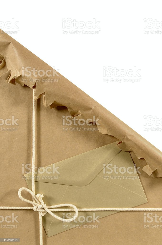Torn brown paper package royalty-free stock photo