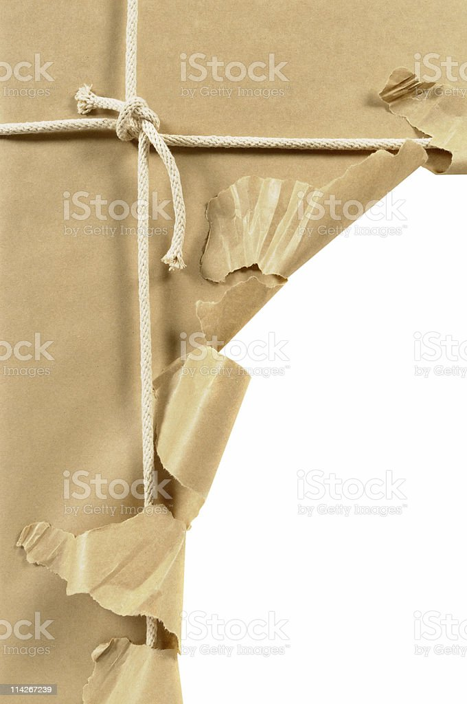 Torn brown parcel royalty-free stock photo