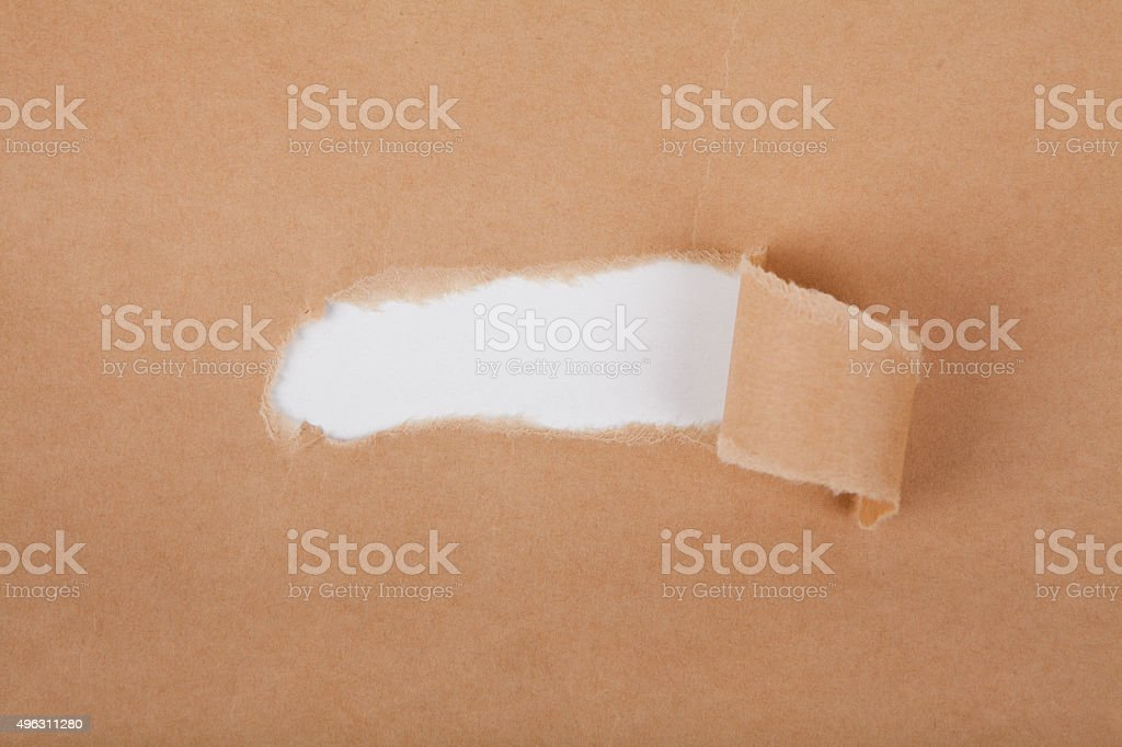 Torn Cardboard Paper, Text Area stock photo
