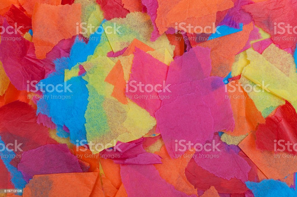 Torn colored tissue paper stock photo